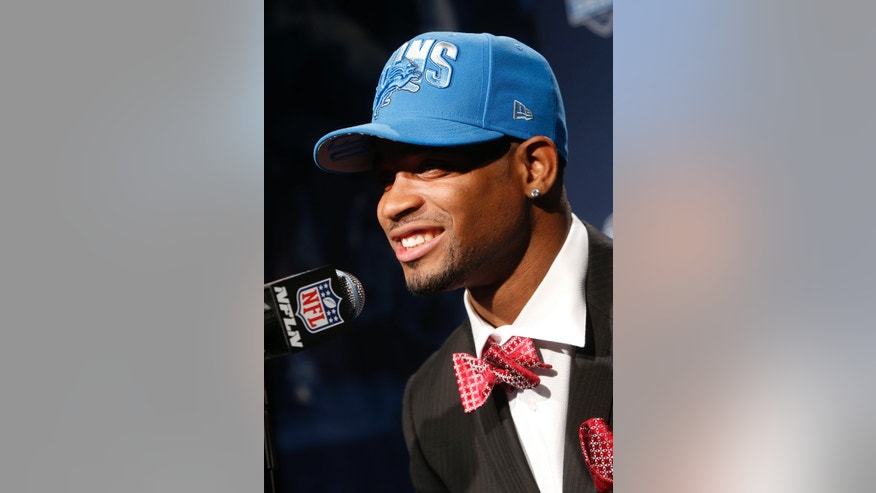 Mississippi State's Darius Slay speaks during a news conference after being selected 36th overall by the Detroit Lions in the second round of the NFL football draft, Friday, April 26, 2013, at Radio City Music Hall in New York. (AP Photo/Jason DeCrow)