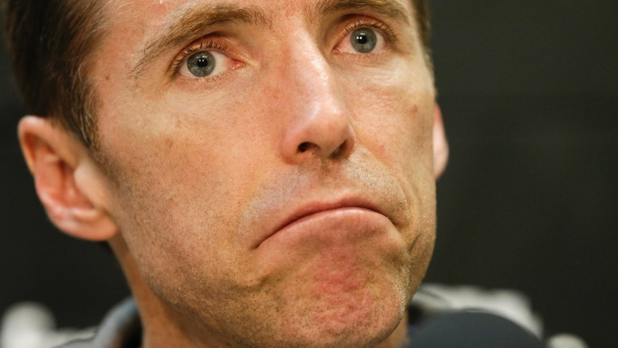 Los Angeles Lakers guard Steve Nash talks to the media at their practice center in El Segundo, Calif., Monday, April 29, 2013. The Lakes lost in the first round of the playoffs to the San Antonio Spurs. (AP Photo/Chris Carlson)