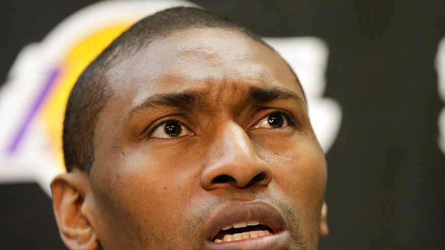 Los Angeles Lakers forward Metta World Peace talks to the media at their practice center in El Segundo, Calif., Monday, April 29, 2013. The Lakes lost in the first round of the playoffs to the San Antonio Spurs. (AP Photo/Chris Carlson)