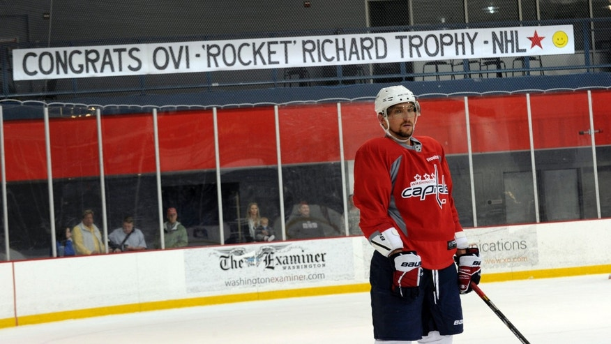 Washington Capitals' Alex Ovechkin, of Russia, looks on during NHL hockey practice at the Kettler Capitals Iceplex in Arlington, Va., Tuesday, April 30, 2013. By scoring 22 times in the last 21 games, Ovechkin claimed his third goal-scoring title and led the Capitals to the Southeast Division title. Yes, Alexander the Great is back at his best and will face the New York Rangers in the playoffs. (AP Photo/Susan Walsh)