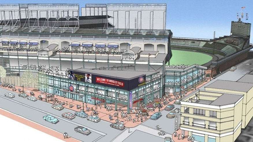 This artist rendering provided May 1, 2013 by the Chicago Cubs shows renovations planned at Wrigley Field. Part of the $500 million renovation plan for the 99-year-old stadium is to build an exterior plaza at the corner of Addison and Sheffield.