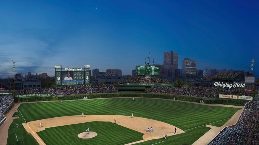 This artist rendering provided May 1, 2013 by the Chicago Cubs shows renovations planned at Wrigley Field.