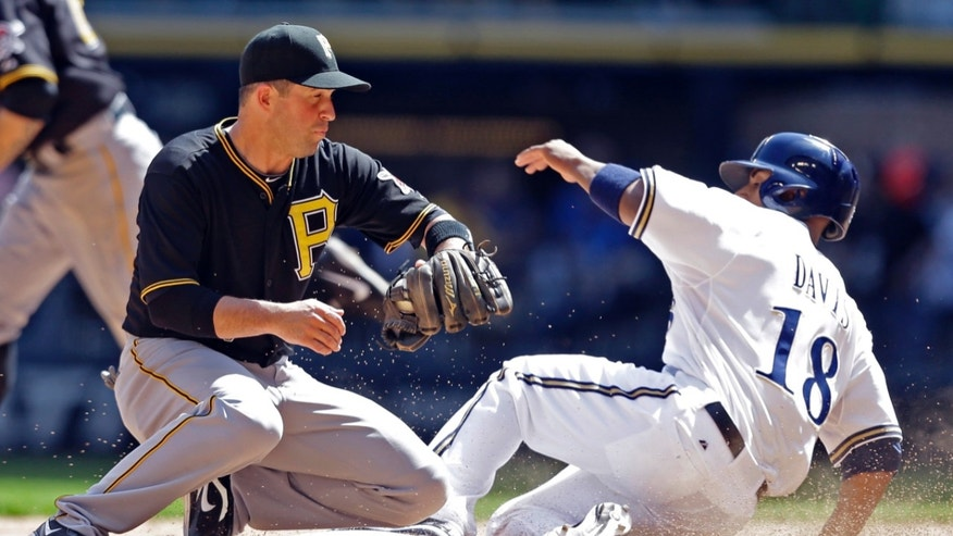 Milwaukee Brewers' Khris Davis(18) steals second base as Pittsburgh Pirates' John McDonald fields the late throw in the seventh inning of a baseball game Wednesday, May 1, 2013, in Milwaukee. (AP Photo/Jeffrey Phelps)