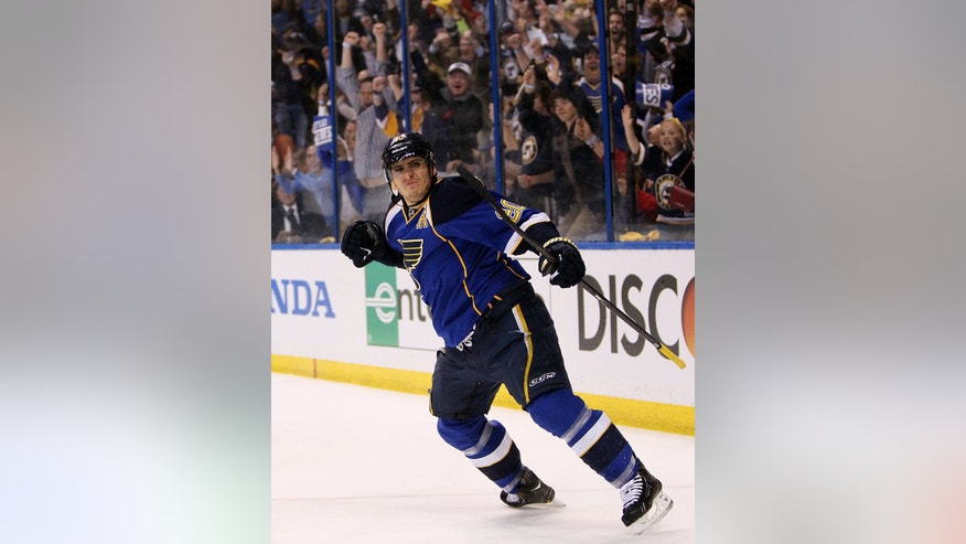 St. Louis Blues left wing Alexander Steen reacts after scoring a goal in the first period in Game 1 of their first-round NHL hockey Stanley Cup playoff series against the Los Angeles Kings, Tuesday, April 30, 2013, in St. Louis.  (AP Photo/St. Louis Post-Dispatch, Chris Lee)