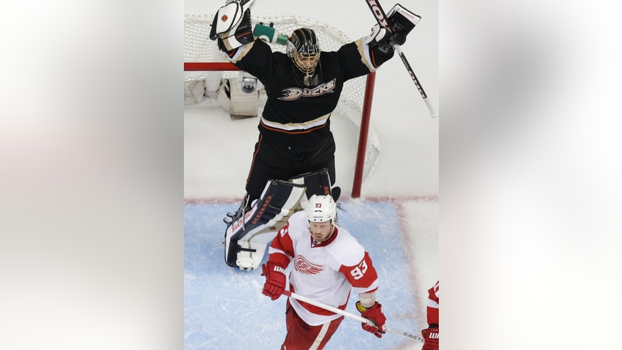Anaheim Ducks goalie Jonas Hiller, top, celebrates over Detroit Red Wings left wing Johan Franzen during the second period in Game 1 of their first-round NHL hockey Stanley Cup playoff series in Anaheim, Calif., Tuesday, April 30, 2013. (AP Photo/Chris Carlson)