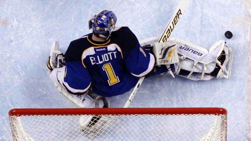 St. Louis Blues goalie Brian Elliott kicks the puck away from the net during the first period in Game 2 of a first-round NHL hockey Stanley Cup playoff series against the Los Angeles Kings, Thursday, May 2, 2013, in St. Louis. (AP Photo/Jeff Roberson)