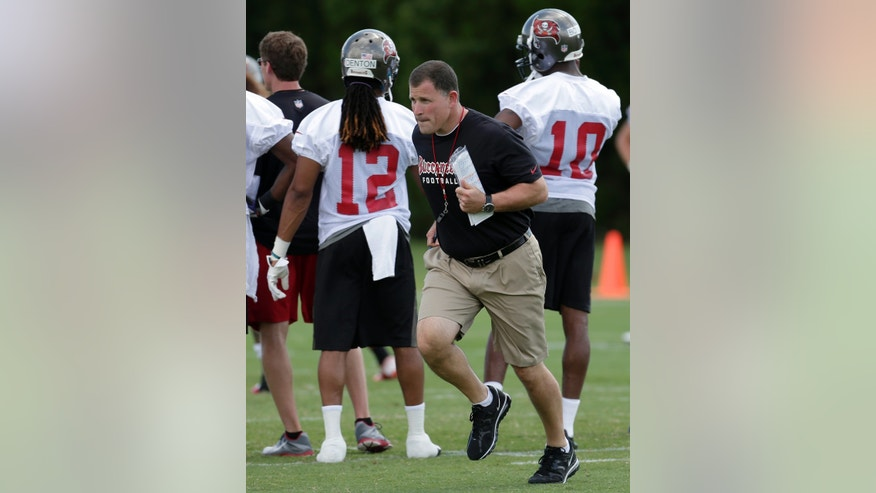 Tampa Bay Buccaneers head coach Greg Schiano runs across the field during NFL football rookie minicamp Friday, May 3, 2013, in Tampa, Fla. (AP Photo/Chris O'Meara)
