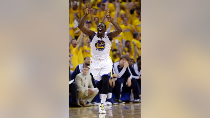 Golden State Warriors' Draymond Green (23) celebrates after making a three-point basket against the Denver Nuggets during the second half of Game 6 in a first-round NBA basketball playoff series in Oakland, Calif., Thursday, May 2, 2013. Golden State won 92-88. (AP Photo/Marcio Jose Sanchez)