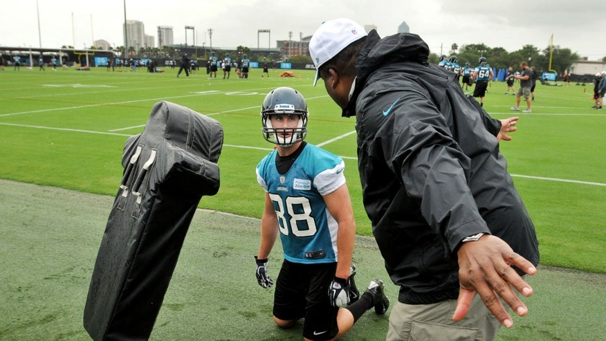 Jacksonville Jaguars' Ryan Otten (88) listens to tight ends/assistant special teams coach Ron Middleton during NFL football rookie minicamp Friday, May 3, 2013,  at EverBank Field in Jacksonville, Fla.  (AP Photo/The Florida Times-Union, Bob Self)