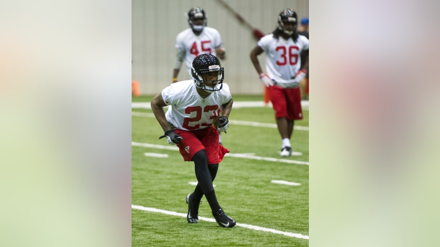 Atlanta Falcons cornerback Robert Alford (23) from Southeast Louisiana, works out during NFL football rookie minicamp, Saturday, May 4, 2013, in Flowery Branch, Ga. (AP Photo/John Amis)