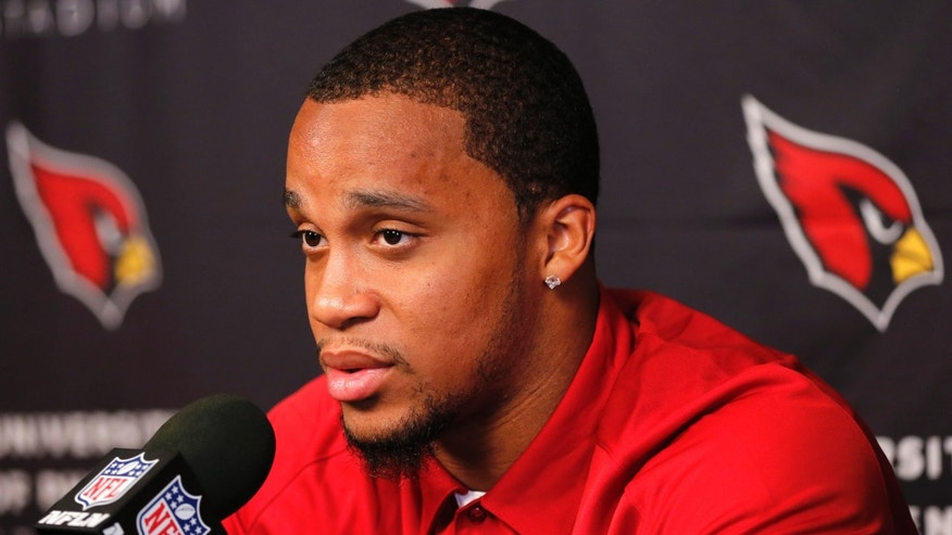 Arizona Cardinals second-round draft pick Kevin Minter speaks during an NFL football news conference, Thursday, May 9, 2013, at the teams' training facility in Tempe, Ariz. (AP Photo/Matt York)