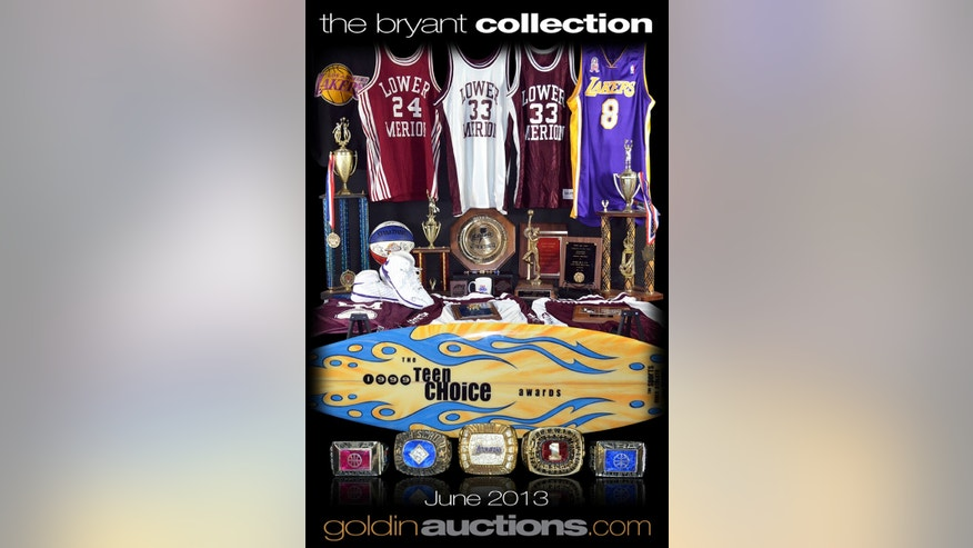 This image provided by Goldin Auctions on Friday, May 3, 2013, shows an advertisement for an auction of items from Los Angeles Lakers star Kobe Bryant. Goldin Auctions is suing for the right to sell the stuff after the NBA star's lawyers wrote the firm to say it could not. Bryant contends that his mother, Pamela Bryant, doesn't have the right to sell the collectibles including his high school letters, a 2000 NBA championship ring and hundreds of other items.  (AP Photo/Goldin Auctions)