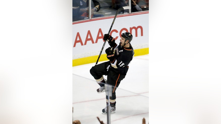 Anaheim Ducks center Ryan Getzlaf celebrates his goal against the Detroit Red Wings during the second period in Game 5 of their first-round NHL hockey Stanley Cup playoff series in Anaheim, Calif., Wednesday, May 8, 2013. (AP Photo/Chris Carlson)