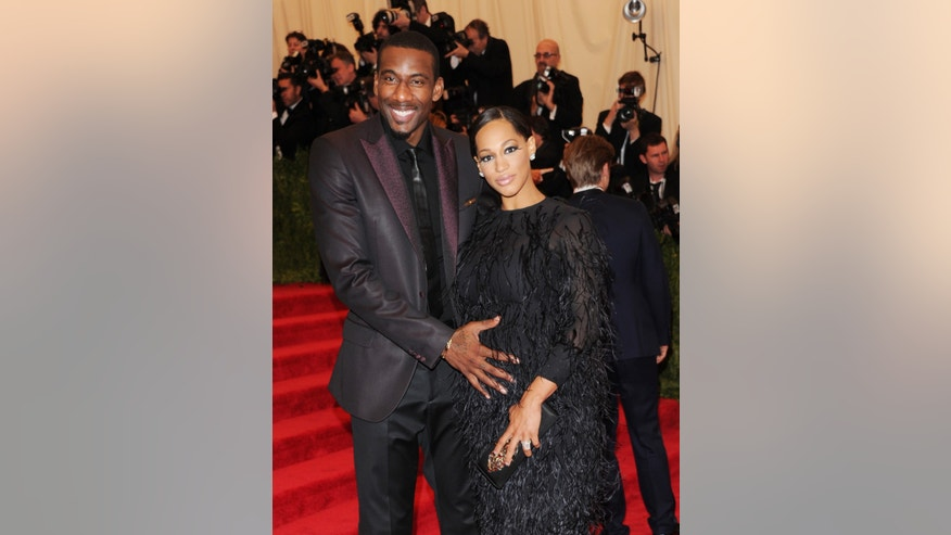 "Amar'e Stoudemire and his wife Alexis attend The Metropolitan Museum of Art's Costume Institute benefit celebrating ""PUNK: Chaos to Couture"" on Monday, May 6, 2013, in New York. (Photo by Evan Agostini/Invision/AP)"