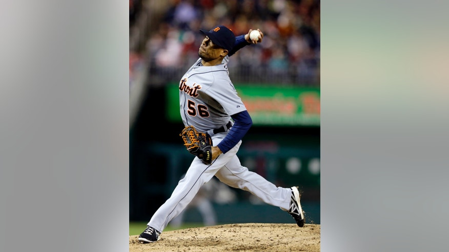 Detroit Tigers relief pitcher Jose Ortega (56) throws during the seventh inning of a baseball game against the Washington Nationals at Nationals Park, Wednesday, May 8, 2013, in Washington. The Nationals won 3-1. (AP Photo/Alex Brandon)