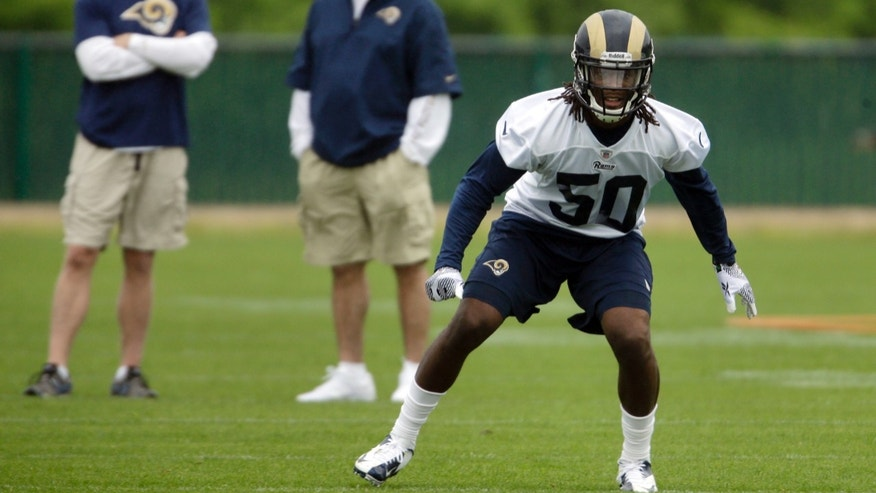 St. Louis Rams' Ray Ray Armstrong, right, works out as Rams general manager Les Snead, left, and head coach Jeff Fisher watch during NFL rookie football training camp Friday, May 10, 2013, at the team's training facility in St. Louis. (AP Photo/Jeff Roberson)