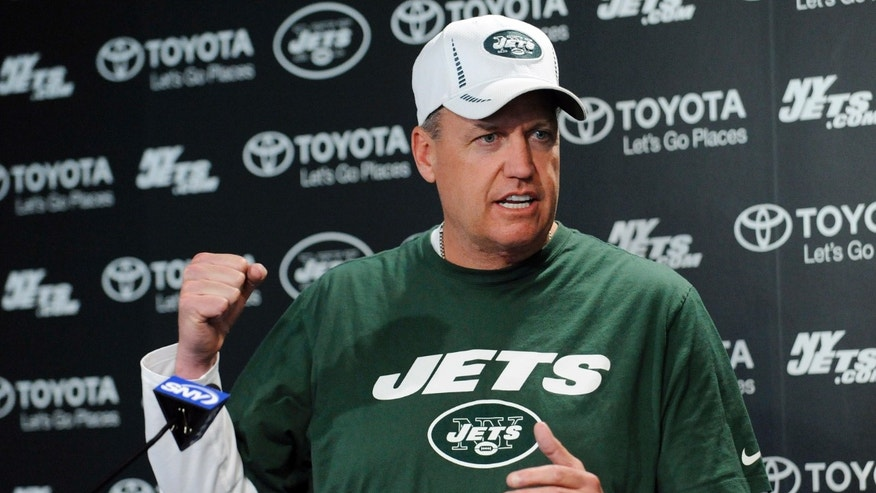 New York Jets coach Rex Ryan speaks to the media during NFL football rookie minicamp Friday, May 10, 2013, in Florham Park, N.J. (AP Photo/Bill Kostroun)