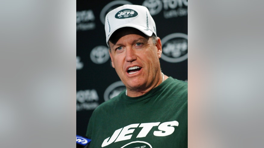 New York Jets coach Rex Ryan speaks to the media at NFL football rookie minicamp Friday, May 10, 2013, in Florham Park, N.J. (AP Photo/Bill Kostroun)