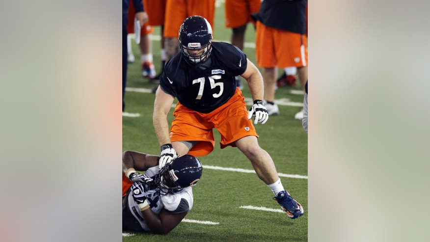 Chicago Bears' Kyle Long (75) works with Corvey Irvin (94) during an NFL football rookie camp at Halas Hall in Lake Forest, Ill., Friday, May 10, 2013. (AP Photo/Nam Y. Huh)