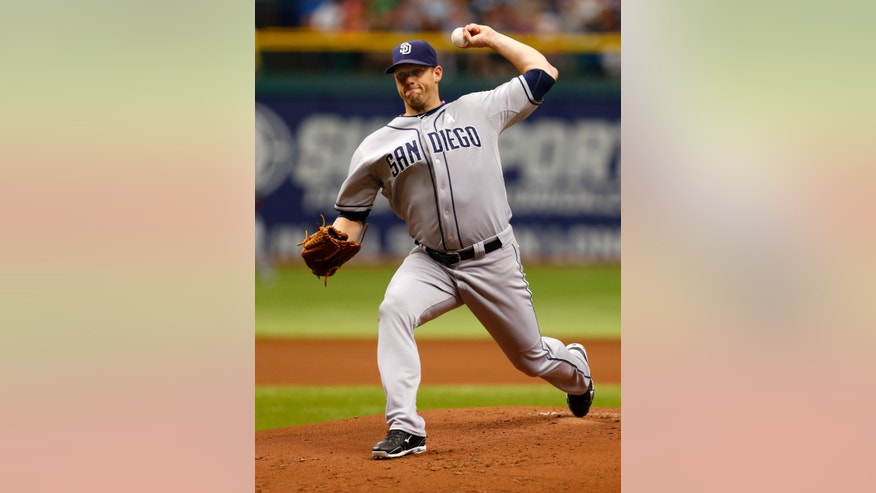 San Diego Padres starting pitcher Eric Stults throws during the first inning of a baseball game against the Tampa Bay Rays, Sunday, May 12, 2013, in St. Petersburg, Fla. (AP Photo/Mike Carlson)