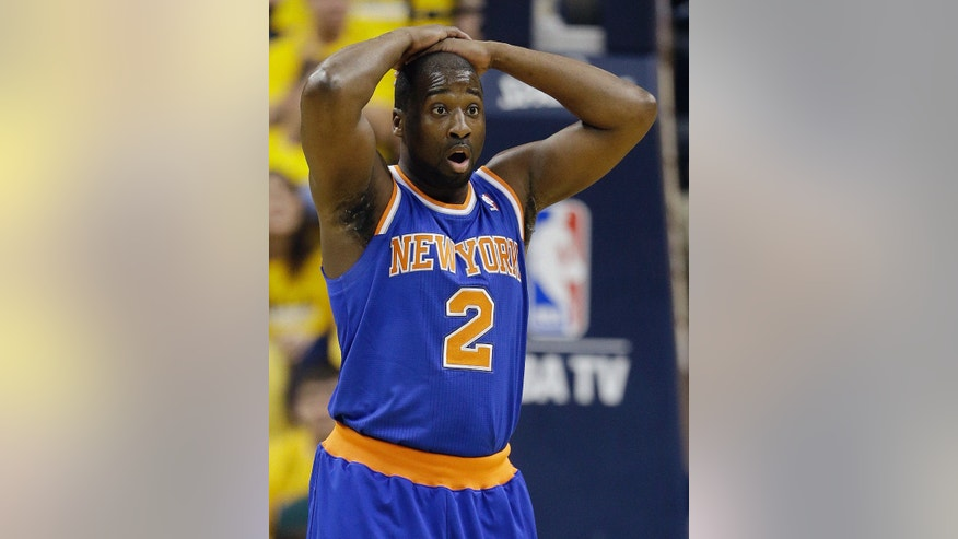 New York Knicks' Raymond Felton reacts to a call during the first half of Game 3 of an Eastern Conference semifinal NBA basketball playoff series against the Indiana Pacers in Saturday, May 11, 2013, in Indianapolis. (AP Photo/Darron Cummings)