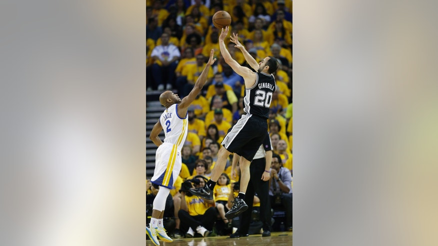 San Antonio Spurs' Manu Ginobili (20), of Argentina,  shoots over Golden State Warriors' Jarrett Jack (2) during the first half of Game 4 of a Western Conference semifinal NBA basketball playoff series in Oakland, Calif., Sunday, May 12, 2013. (AP Photo/Marcio Jose Sanchez)