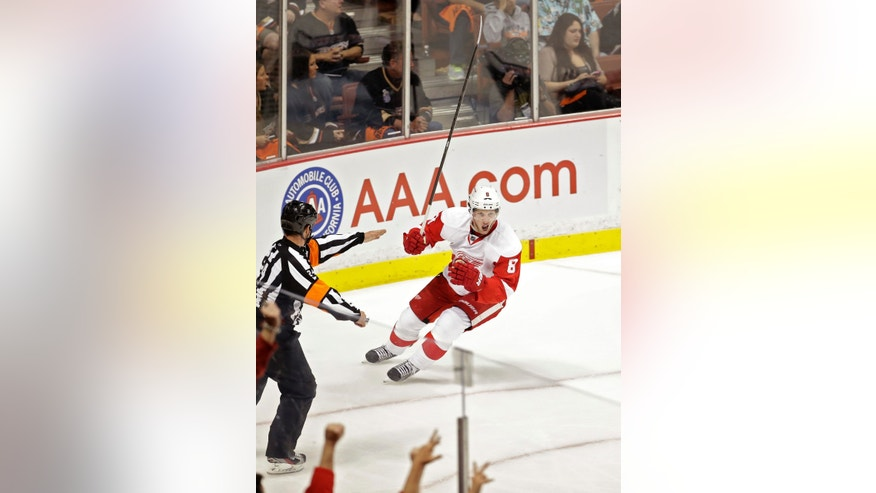 Detroit Red Wings left wing Justin Abdelkader celebrates his short handed goal during the first period in Game 7 of their first-round NHL hockey Stanley Cup playoff series against the Anaheim Ducks in Anaheim, Calif., Sunday, May 12, 2013. (AP Photo/Chris Carlson)