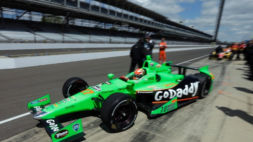 James Hinchcliffe pulls out of the pit area during practice for the Indianapolis 500 auto race at the Indianapolis Motor Speedway in Indianapolis, Sunday, May 12, 2013. (AP Photo/Darron Cummings)
