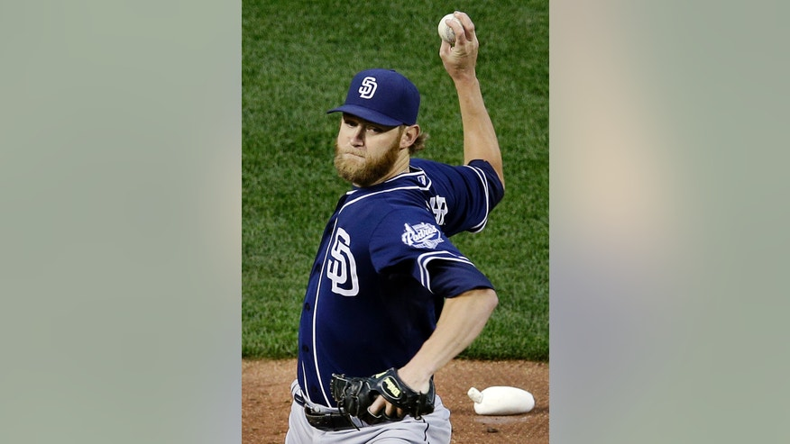 San Diego Padres starting pitcher Andrew Cashner throws to the Baltimore Orioles in the second inning of an interleague baseball game in Baltimore, Tuesday, May 14, 2013. (AP Photo/Patrick Semansky)