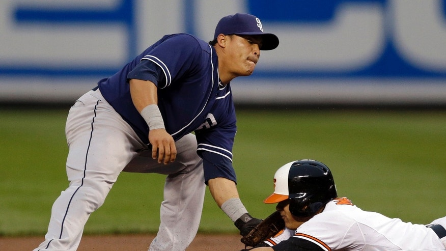 San Diego Padres shortstop Everth Cabrera tags out Baltimore Orioles' Manny Machado as he tries to steal second base in the first inning of an interleague baseball game in Baltimore, Tuesday, May 14, 2013. (AP Photo/Patrick Semansky)