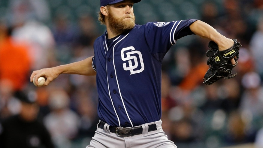 San Diego Padres starting pitcher Andrew Cashner throws to the Baltimore Orioles in the first inning of an interleague baseball game in Baltimore, Tuesday, May 14, 2013. (AP Photo/Patrick Semansky)