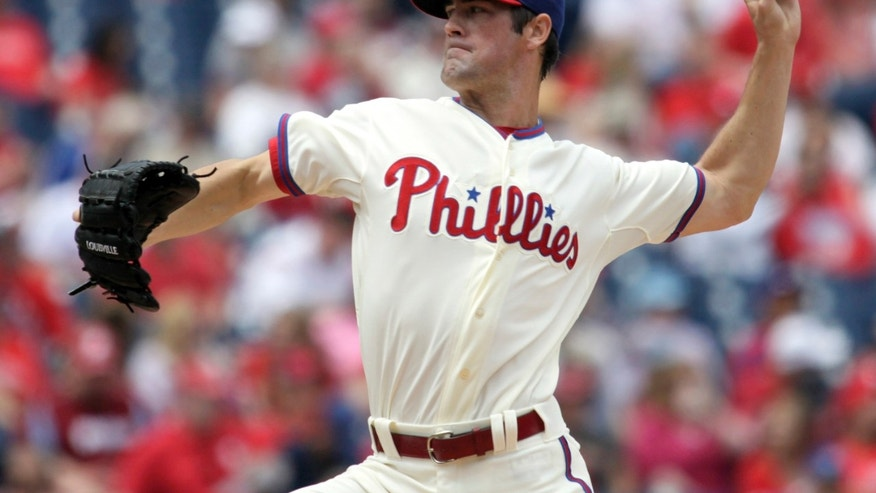 Philadelphia Phillies starting pitcher Cole Hamels throws against the Cleveland Indians during the first inning of an interleague baseball game Wednesday, May 15, 2013, in Philadelphia. (AP Photo/H. Rumph Jr)