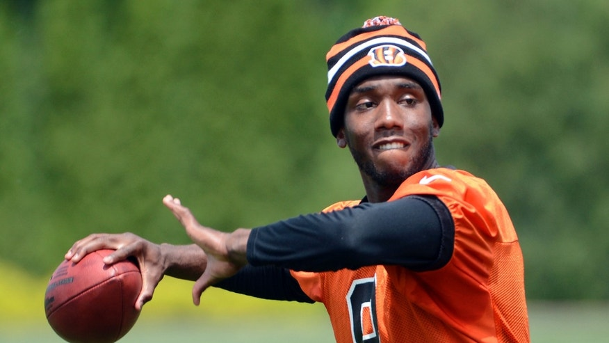 Cincinnati Bengals quarterback Josh Johnson drops back to pass during the team's NFL football organized team activities, Tuesday, May 21, 2013 at Paul Brown Stadium in Cincinnati. (AP Photo/Michael E. Keating)