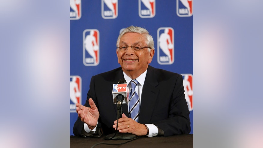 NBA Commissioner David Stern speaks during a news conference before the NBA basketball draft lottery, Tuesday, May 21, 2013 in New York. (AP Photo/Jason DeCrow)