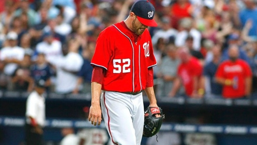 Sept. 15, 2012: Washington Nationals relief pitcher Ryan Mattheus leaves the field in the eighth inning at their MLB National League baseball game against the Atlanta Braves at Turner Field in Atlanta, Georgia.
