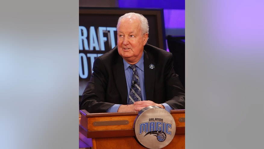 Orlando Magic senior vice president Pat Williams represents his team during the NBA basketball draft lottery, Tuesday, May 21, 2013 in New York. (AP Photo/Jason DeCrow)