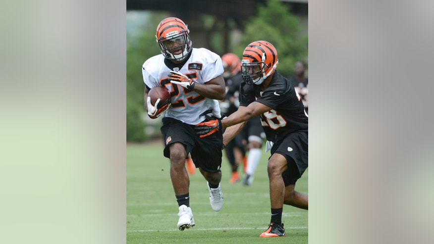 Cincinnati Bengals rookie running back Giovani Bernard, left, carries the ball as cornerback Shaun Prater closes in during an NFL football team practice Tuesday, May 21, 2013 at Paul Brown Stadium in Cincinnati, Ohio.  (AP Photo/Michael E. Keating)