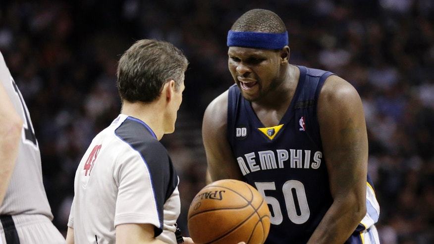 Memphis Grizzlies' Zach Randolph argues with an official during the second half in Game 2 of the Western Conference finals NBA basketball playoff series against the San Antonio Spurs, Tuesday, May 21, 2013, in San Antonio. (AP Photo/Eric Gay)