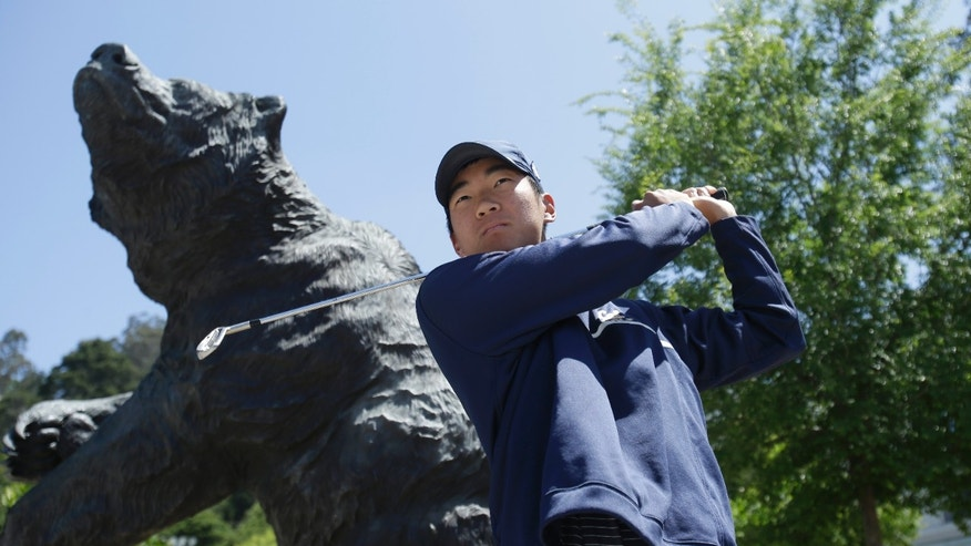 University of California's Michael Kim practices his swing Thursday, May 23, 2013, in Berkeley, Calif. Cal has broken the modern-era NCAA single-season win record with 11 victories in its first 13 tournaments in 2012-13 and will conclude its season at the NCAA Championship hosted by Georgia Tech May 28 – June 2 in the Atlanta area at the Capital City Club's Crabapple Course in Milton, Ga. (AP Photo/Ben Margot)