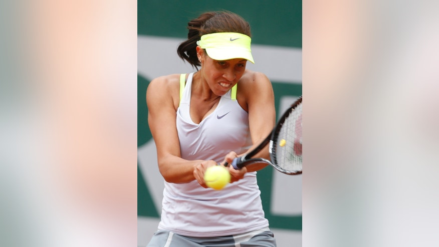 Madison Keys of the U.S. returns against Japan's Misaki Doi in their first round match of the French Open tennis tournament, at Roland Garros stadium in Paris, Monday, May 27, 2013. (AP Photo/Petr David Josek)