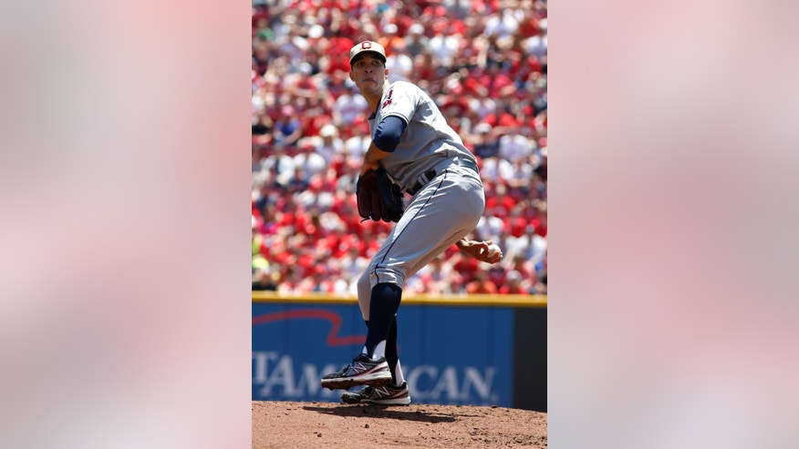 Cleveland Indians starting pitcher Ubaldo Jimenez throws against the Cincinnati Reds in the first inning during a baseball game, Monday, May 27, 2013, in Cincinnati. (AP Photo/David Kohl)