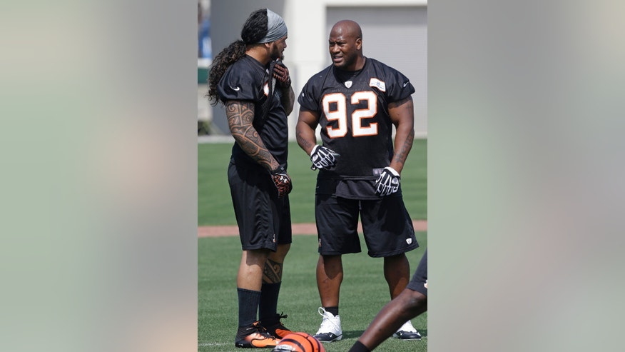 Cincinnati Bengals linebackers James Harrison (92) and Rey Maualuga talk during NFL football practice, Wednesday, May 29, 2013, in Cincinnati. (AP Photo/Al Behrman)