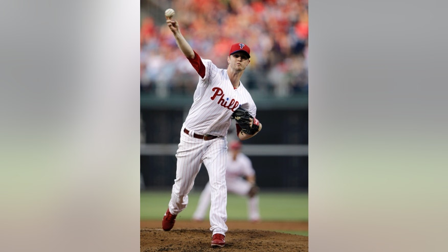 Philadelphia Phillies' Kyle Kendrick pitches in the third inning of a baseball game against the Boston Red Sox, Wednesday, May 29, 2013, in Philadelphia. (AP Photo/Matt Slocum)