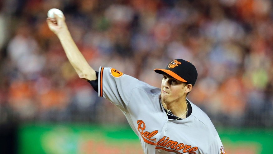 Baltimore Orioles starting pitcher Kevin Gausman throws during the first inning of an interleague baseball game against the Washington Nationals at Nationals Park Tuesday, May 28, 2013, in Washington. (AP Photo/Alex Brandon)