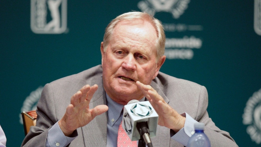 Jack Nicklaus answers questions during a news conference before the the Memorial golf tournament Wednesday, May 29, 2013, in Dublin, Ohio. (AP Photo/Jay LaPrete)