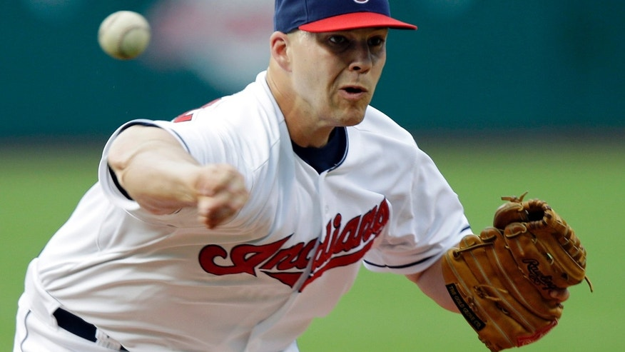 Cleveland Indians starting pitcher Justin Masterson delivers against the Cincinnati Reds in a baseball game on Wednesday, May 29, 2013, in Cleveland. (AP Photo/Mark Duncan)