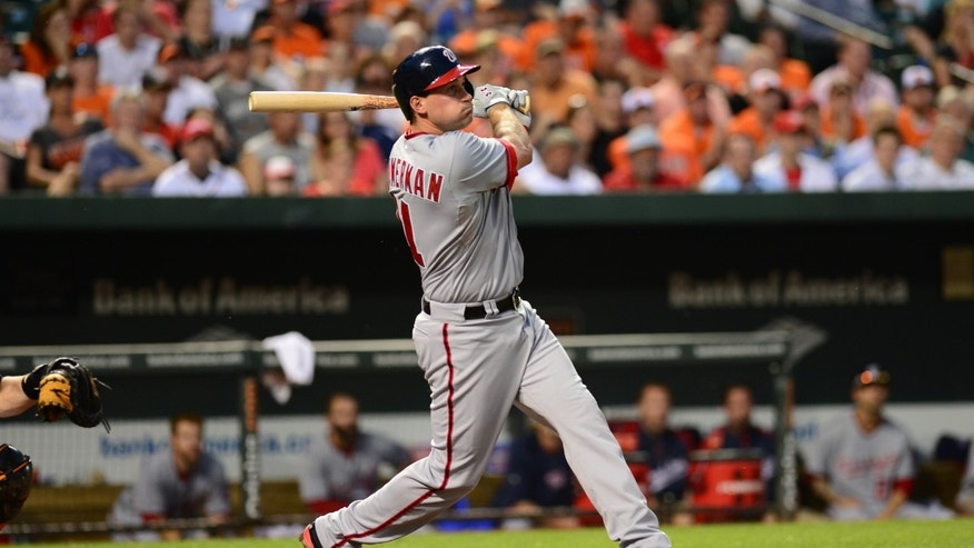 Washington Nationals' Ryan Zimmerman watches his third consecutive homer of the night, in the fifth inning of an interleague baseball game against the Baltimore Orioles on Wednesday, May 29, 2013 in Baltimore. The Orioles won 9-6. (AP Photo/The Washington Post, Jonathan Newton) USA TODAY, WASHINGTON EXAMINER, WASHINGTON TIMES, NEW YORK TIMES OUT  MAGS OUT, NO SALES