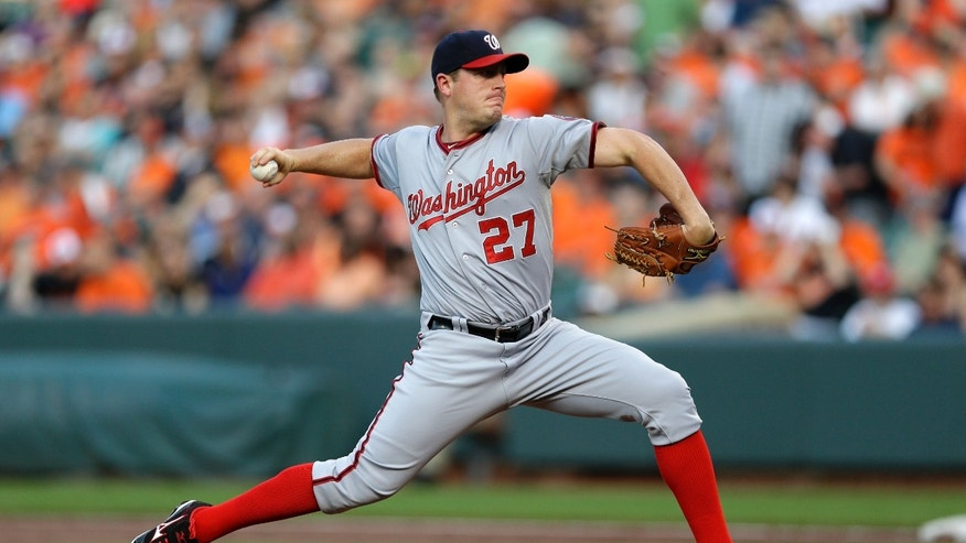 Washington Nationals starting pitcher Jordan Zimmermann throws to the Baltimore Orioles in the first inning of an interleague baseball game, Wednesday, May 29, 2013, in Baltimore. (AP Photo/Patrick Semansky)