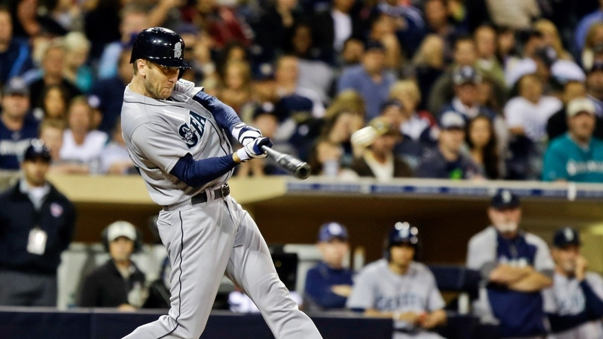 Seattle Mariners' Jason Bay connects for a solo home run off Padres closer Huston Street to break a 1-1 tie against the San Diego Padres in the ninth inning of a baseball game in San Diego, Wednesday, May 29, 2013. (AP Photo/Lenny Ignelzi)
