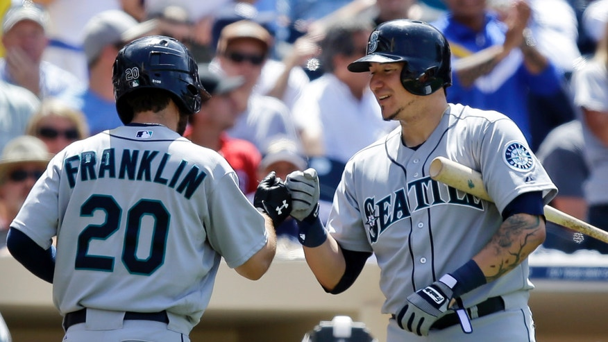 Seattle Mariners' Nick Franklin is congratulated by Jesus Sucre after Franklin's second home run of the game and his major league career second in the eighth inning of a baseball game against the San Diego Padres in San Diego, Thursday, May 30, 2013. (AP Photo/Lenny Ignelzi)